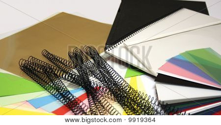 books, binding materials, colorchart and paper
