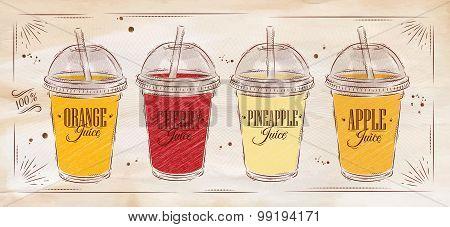 Poster Set Of Juice Retro