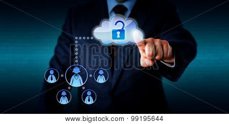 Manager Unlocking Access To A Work Team Via Cloud