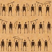 Illustration of prehistoric cave art paintings with hunters poster