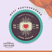 Photography Hipster Badge and Label in Vintage Style. Creative wedding photographer logo  with camera and lens in the form of heart. poster