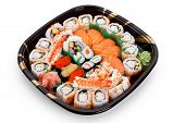 SuShi Tray with white background close up poster