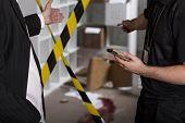 Murder or crime scene barricaded by tape poster