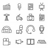 Set of objects in hand drawn catroon style on journalism theme: newspaper, tv, antenna, microphone, camera, van. Mass media concept fot your design poster