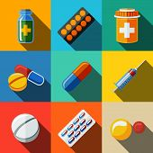 Medicine, drugs flat icons set with long shadow - pillsbox and tablets, pill, blister, vitamins, syringe, liquid medicine. poster