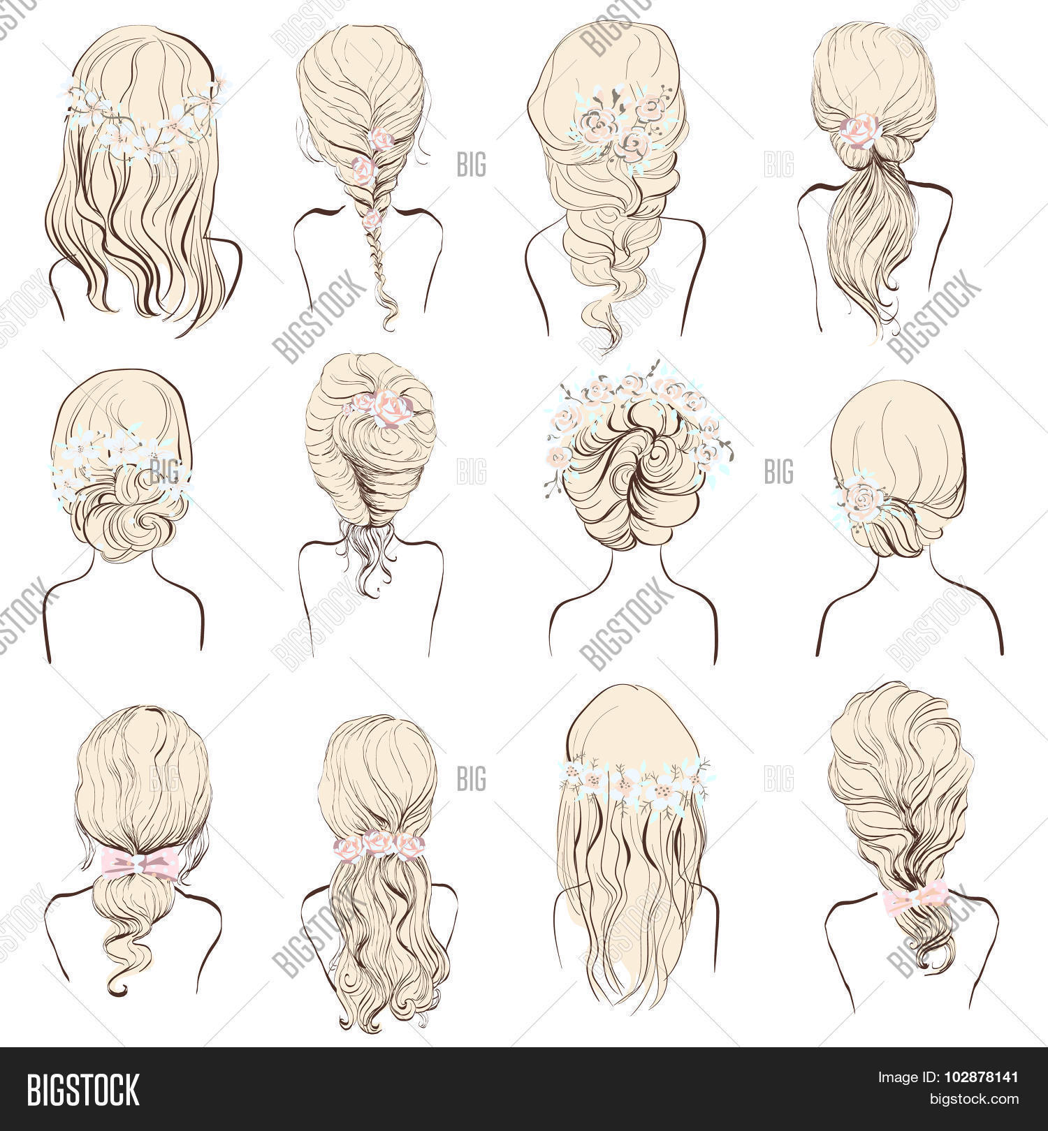 Set of different hairstyles wedding hairstyles hair styles with flowers sketch hairstyle head lady isolated on