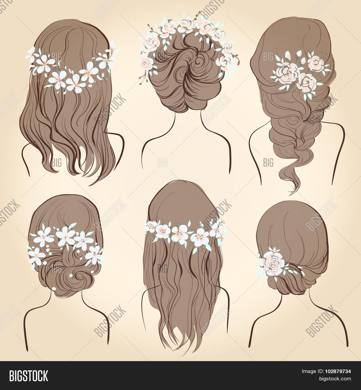 Set of different vintage style hairstyles wedding hairstyles hair styles with flowers sketch hairstyle head female