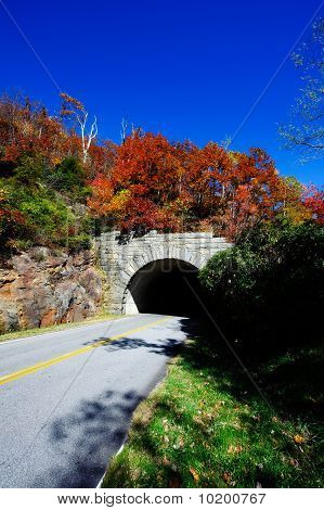 Blue Ridge Parkway Fall Colors And Mountain Tunnel
