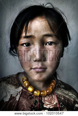 Mongolian Girl Portrait Innocent Culture Poverty Concept poster
