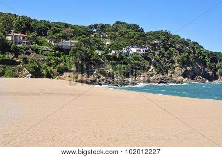 a view of the Sa Riera beach in Begur, in the Costa Brava, Catalonia, Spain poster