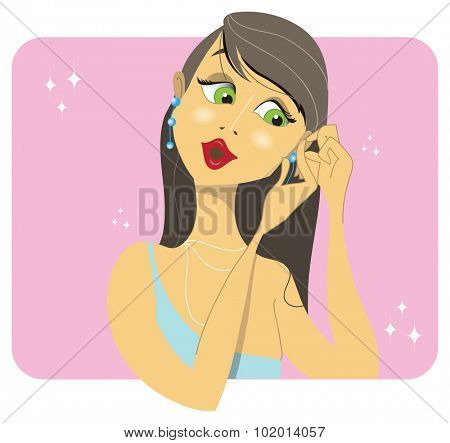 A beatiful brunette woman placing her earrings in preparation for a soiree or party, on a pink and glittering background.