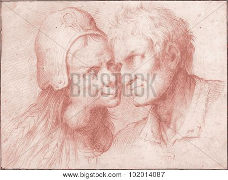 The Grotesque Lovers live traced vector illustration, from CAMILLO PROCACCINI, Bologna, 1555 - 1629, Milan poster
