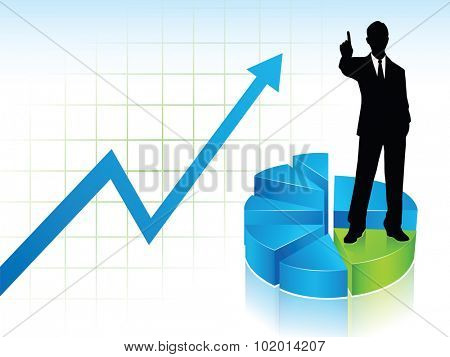 A businessman silhouette standing on a graph stairs, showing his finger to say Number One, on a statistic chart background, blue and green.