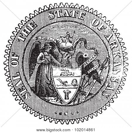 Seal of Arkansas prior to 1907 old engraving. Vintage engraved illustration of the Seal of Arkansas as created in 1864. Show the Angel of Mercy, Goddess of Liberty, Sword of Justice and bald eagle
