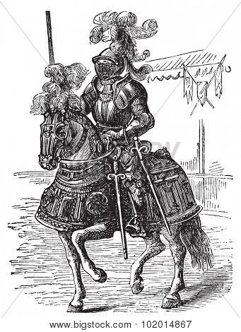 Ironclad full bodied armored horse and rider old engraving. Old engraved illustration of a medieval knight on his horse, in full armor.