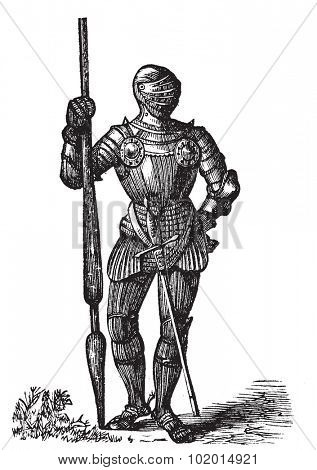 Henry VII armor, King of England, old engraving. Vector, engraved illustration of King Henry VII full body armor, with his lance and sword.