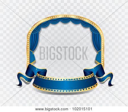 vector ellipse stage with blue curtain, golden frame, bulb lamps and transparent shadow