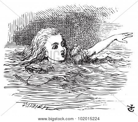 Alice in Wonderland. Alice Swimming in her pool of giant tears, up to her chin in salt water. Alice's Adventures in Wonderland. Illustration from John Tenniel, published in 1865.
