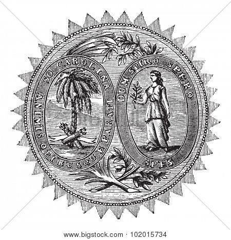 Great seal or hallmark of South Carolina vintage engraving. Old engraved illustration of the Great seal of South Carolina. poster