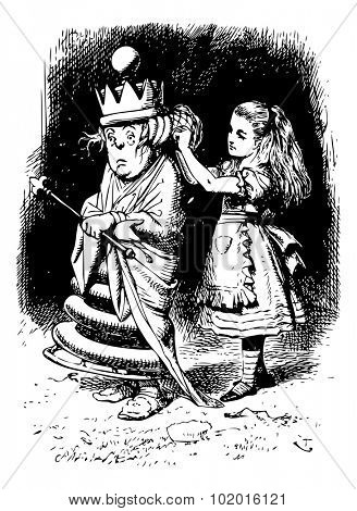 Alice gets the White Queen's Hair in Order - Through the Looking Glass and what Alice Found There original book engraving poster