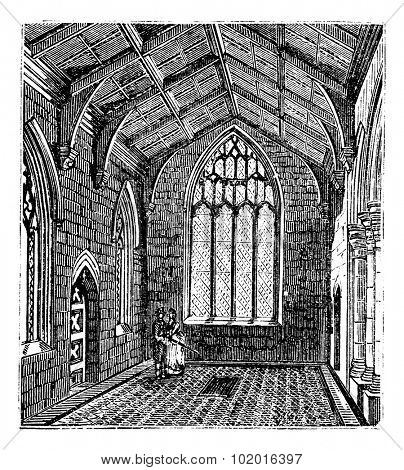 Saint Botolph's Church, in Boston, Lincolnshire, England, during the 1890s, vintage engraving. Old engraved illustration of the inside of Cotton Chapel in Saint Botolph's Church. Trousset Encyclopedia