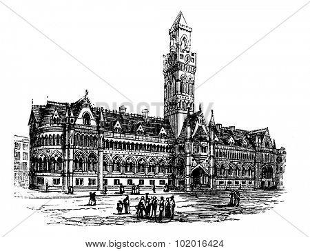 Bradford City Hall,  Bradford, West Yorkshire, United Kingdom vintage engraving. Old engraved illustration of Bradford City Hall,  United Kingdom, 1890s. Trousset Encyclopedia