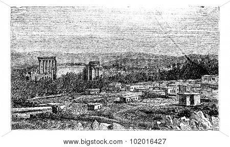 Ruins at Baalbek, Bekaa Valley, Lebanon, during the 1890s, Ancient Babylon, vintage engraving. Old engraved illustration of the Ruins at Baalbek. Trousset Encyclopedia poster