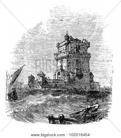 Belem Tower, in Lisbon, Portugal, during the 1890s, vintage engraving. Old engraved illustration of the Belem Tower. Trousset Encyclopedia