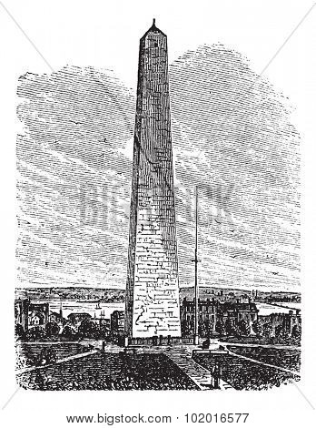 Bunker Hill Monument, Charlestown, Massachusetts, United States vintage engraving. Old engraved illustration of Bunker Hill Monument, Charlestown, Massachusetts, in the 1890s. Trousset encyclopedia