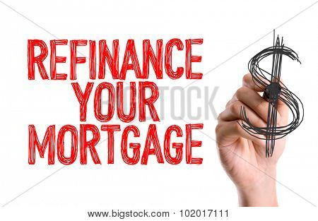 Hand with marker writing: Refinance Your Mortgage poster