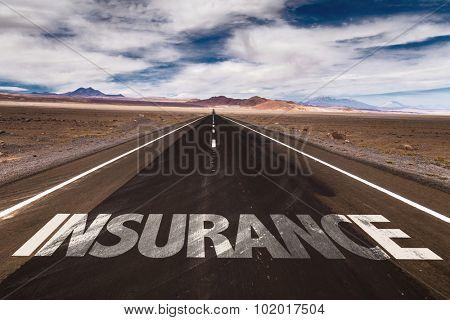 Insurance written on desert road