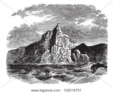 Cape Horn in Chile, during the 1890s, vintage engraving. Old engraved illustration of Cape Horn with running water in front. Trousset Encyclopedia