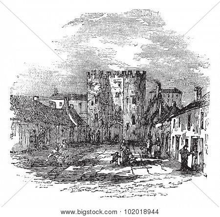 Drogheda in Leinster, Ireland, during the 1890s, vintage engraving. Old engraved illustration of Drogheda showing Saint Lawrence's Gate. Trousset Encyclopedia