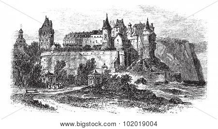 Castle Museum of Dieppe in Normandy, France, during the 1890s, vintage engraving. Old engraved illustration of the Castle Museum of Dieppe. Trousset Encyclopedia