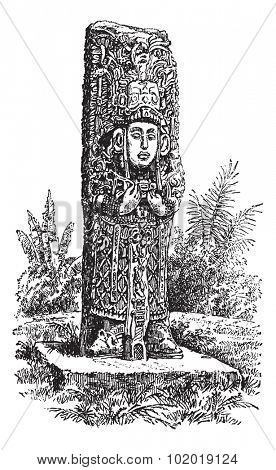 Copan Monolith in Honduras, during the 1890s,vintage engraving. Old engraved illustration of a Copan Monolith. Trousset Encyclopedia