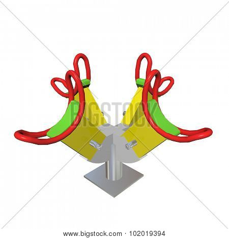 Red, green and yellow four-person children see-saw, 3D illustration, isolated against a white background