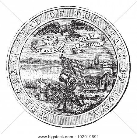 Great Seal of the State of Iowa, USA, vintage engraving. Old engraved illustration of Great Seal of the State of Iowa isolated on a white background. Trousset encyclopedia (1886 - 1891)