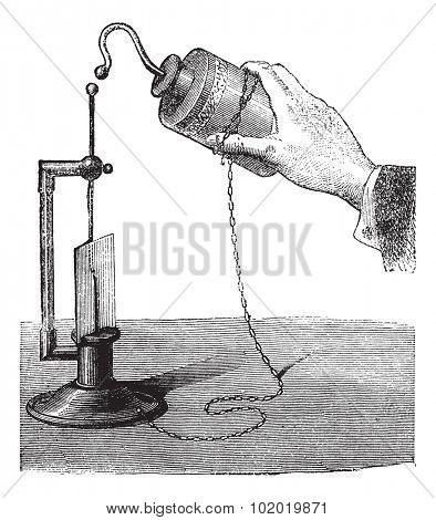 Leyden Jar, vintage engraved illustration. Trousset encyclopedia (1886 - 1891).