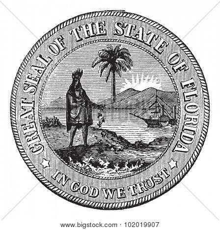 Seal of Florida, USA, vintage engraved illustration. Trousset encyclopedia (1886 - 1891).