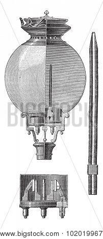 Yablochkov Candle, vintage engraved illustration. Trousset encyclopedia (1886 - 1891).