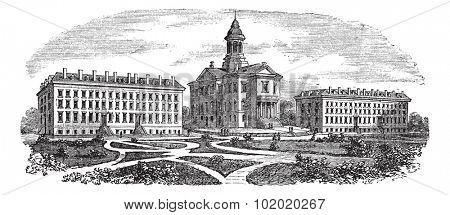 Bates College in Lewiston, Maine, vintage engraved illustration. Trousset encyclopedia (1886 - 1891).
