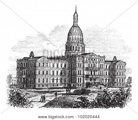 Michigan State Capitol Building. Lansing, United States vintage engraving. Old engraved illustration of state capitol of michigan, Lansing, 1890s