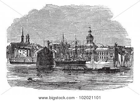Waterfront at Kingston, Canada vintage engraving. Old engraved illustration of river and buildings at Kingston, Canada, 1800s. Trousset encyclopedia (1886 - 1891).