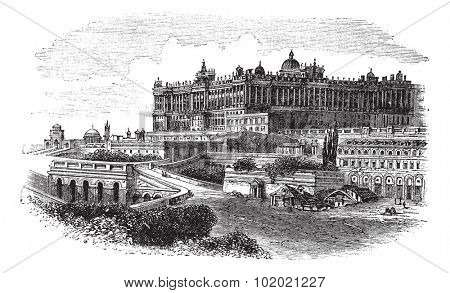 The Royal Palace of Madrid in Spain, during the 1890s, vintage engraving. Old engraved illustration of the Royal Palace of Madrid. Trousset encyclopedia (1886 - 1891).