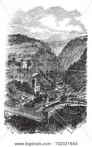 Fribourg or Freiburg im Uechtland in Switzerland, during the 1890s, vintage engraving. Old engraved illustration of Fribourg. Trousset encyclopedia (1886 - 1891).
