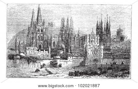 Burgos, city, Spain, old engraved illustration of Burgos, city, Spain, 1890s. Trousset encyclopedia (1886 - 1891).