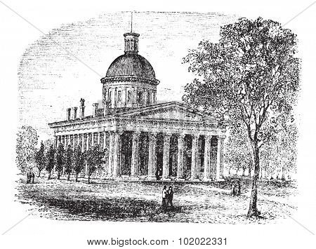 Indiana Statehouse in Indiana, America, during the 1890s, vintage engraving. Old engraved illustration of Indiana Statehouse with trees and people in front. Trousset encyclopedia (1886 - 1891).