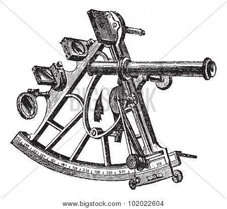 Sextant, vintage engraving. Old engraved illustration of Sextant isolated on a white background. Trousset encyclopedia (1886 - 1891).
