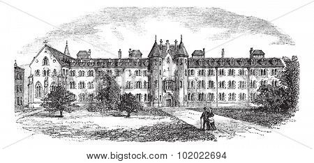 St Patrick's College or Maynooth College or Royal College of St. Patrick Maynooth in Ireland, during the 1890s, vintage engraving. Trousset encyclopedia (1886 - 1891).