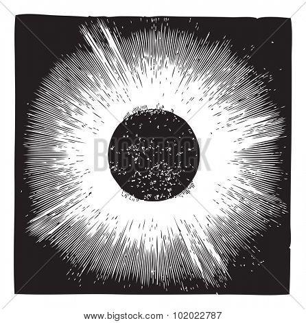 Solar corona, during solar eclipse of 1860, vintage engraving. Old engraved illustration of Solar corona with solar eclipse. Trousset encyclopedia (1886 - 1891).